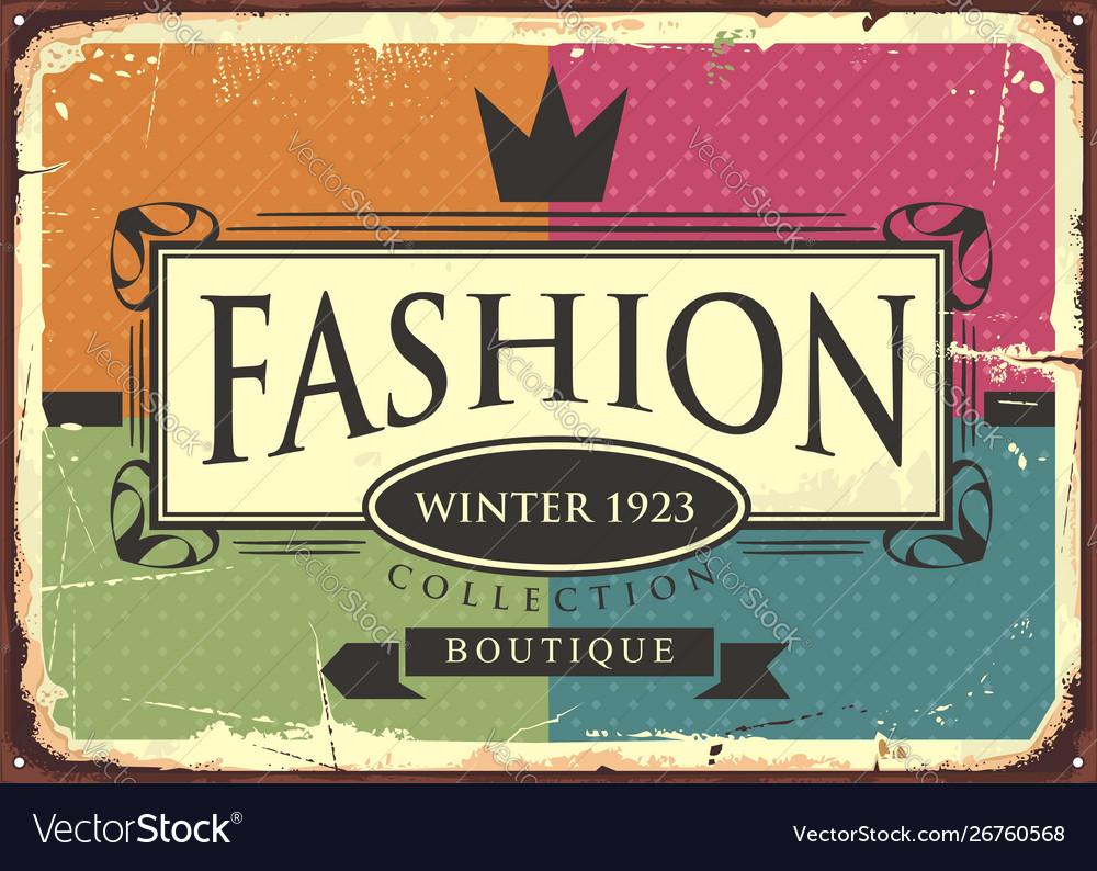 Fashion boutique vintage sign