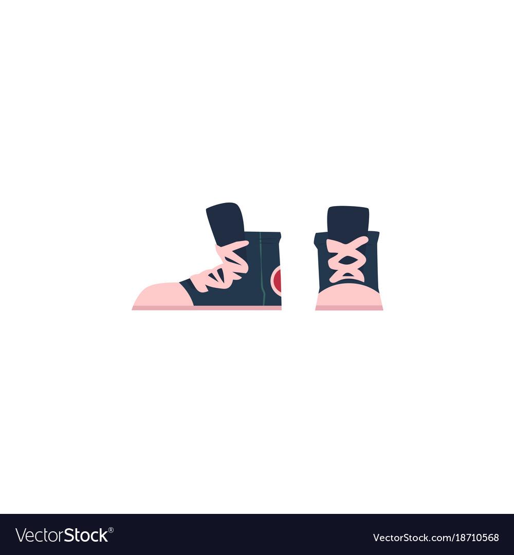 Flat cartoon vintage retro sneakers