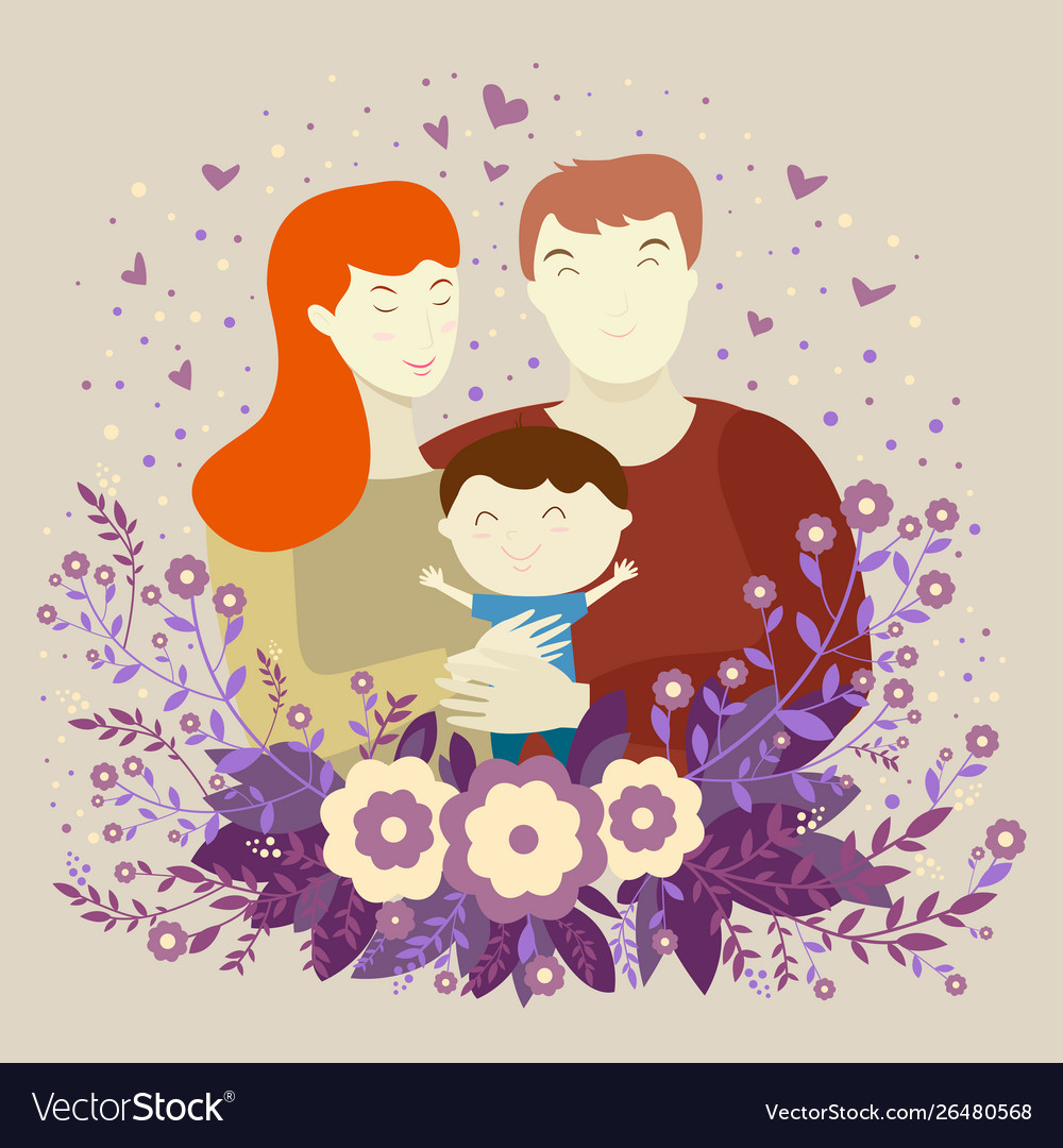 Happy family young parents mom dad and son on