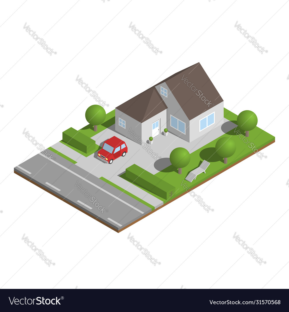 Isometric suburban house with garden and car