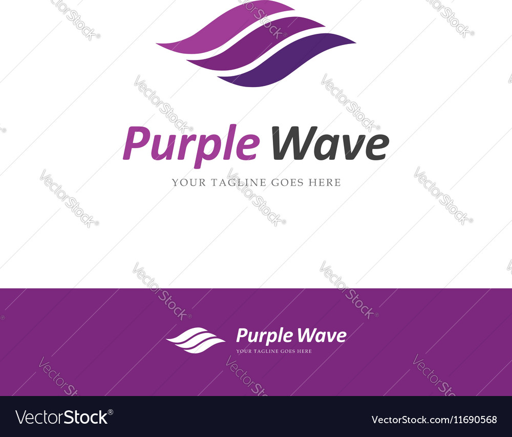 Purple wave logo vector image