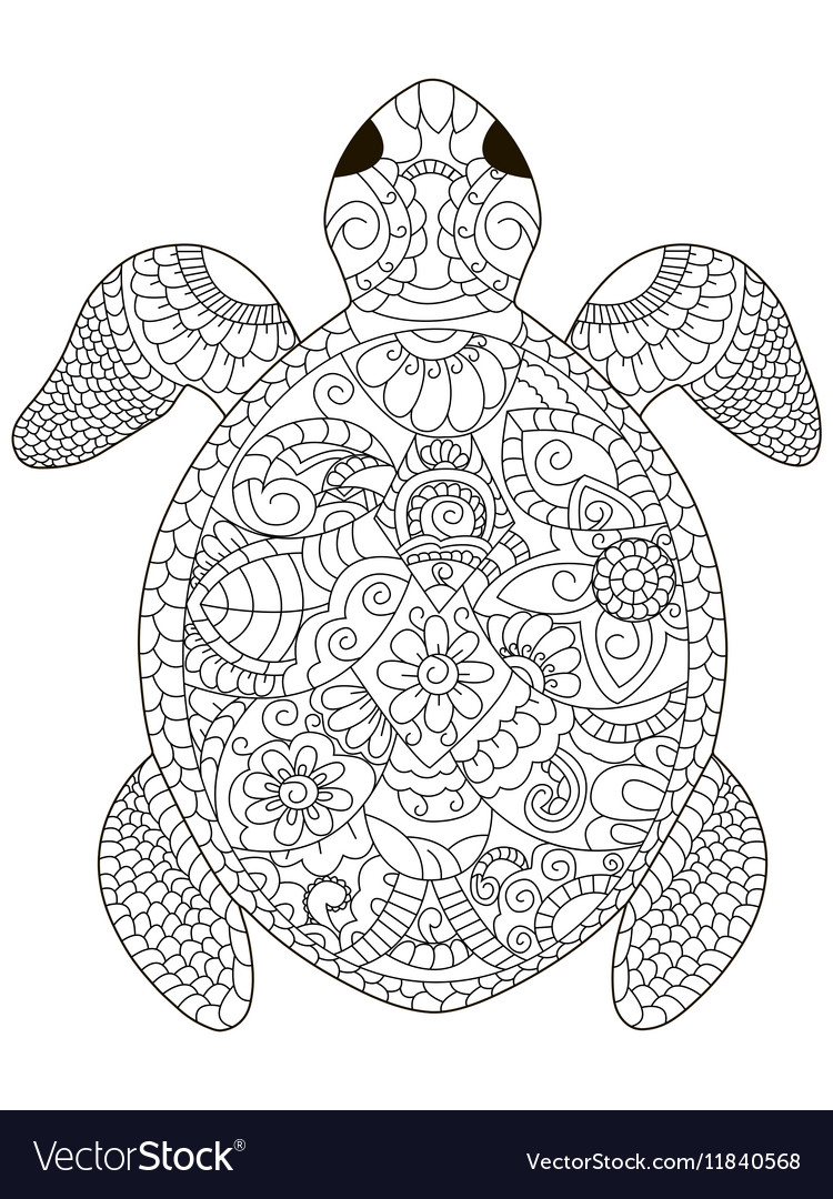 Sea Turtle Coloring For Adults Royalty Free Vector Image