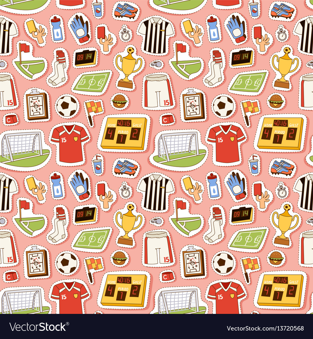 Soccer icons seamless pattern