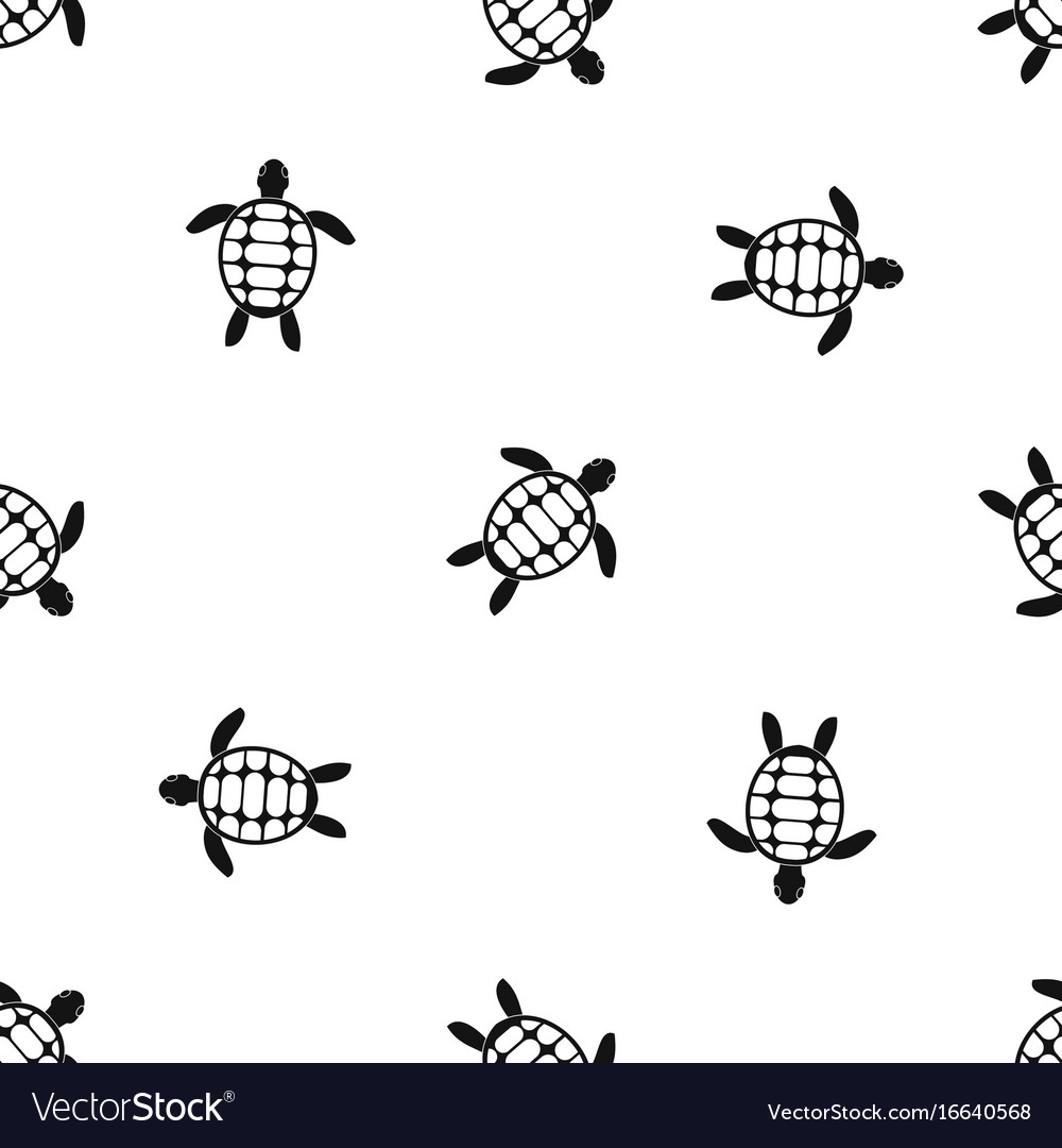 Turtle Pattern Seamless Black Royalty Free Vector Image