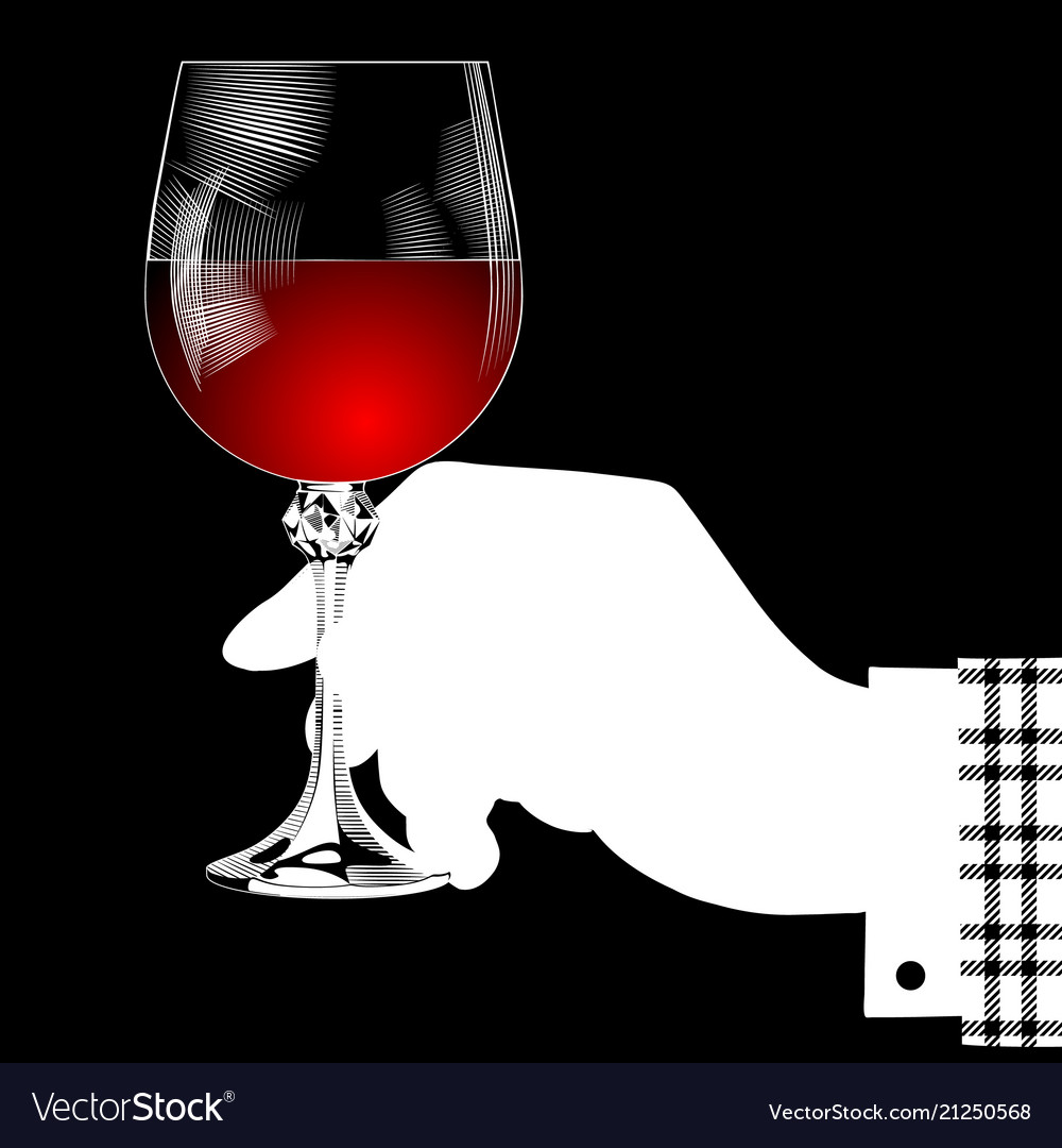 White silhouette of hand holding a glass with red