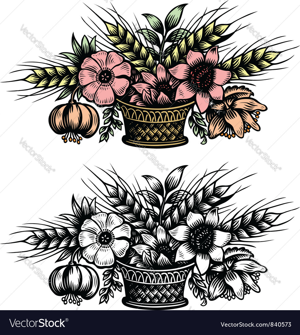 Bouquet Of Flowers In The Basket Royalty Free Vector Image