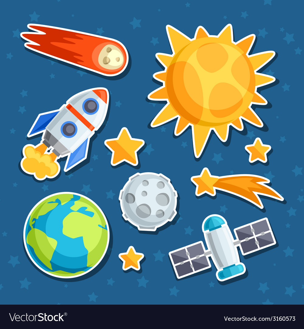 Cosmic icon set of solar system planets and