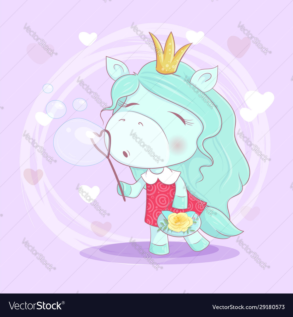 Cute cartoon unicorn girl with flowers blowing