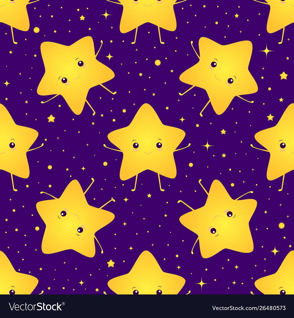 Cute kawaii bright smiling stars seamless sweet