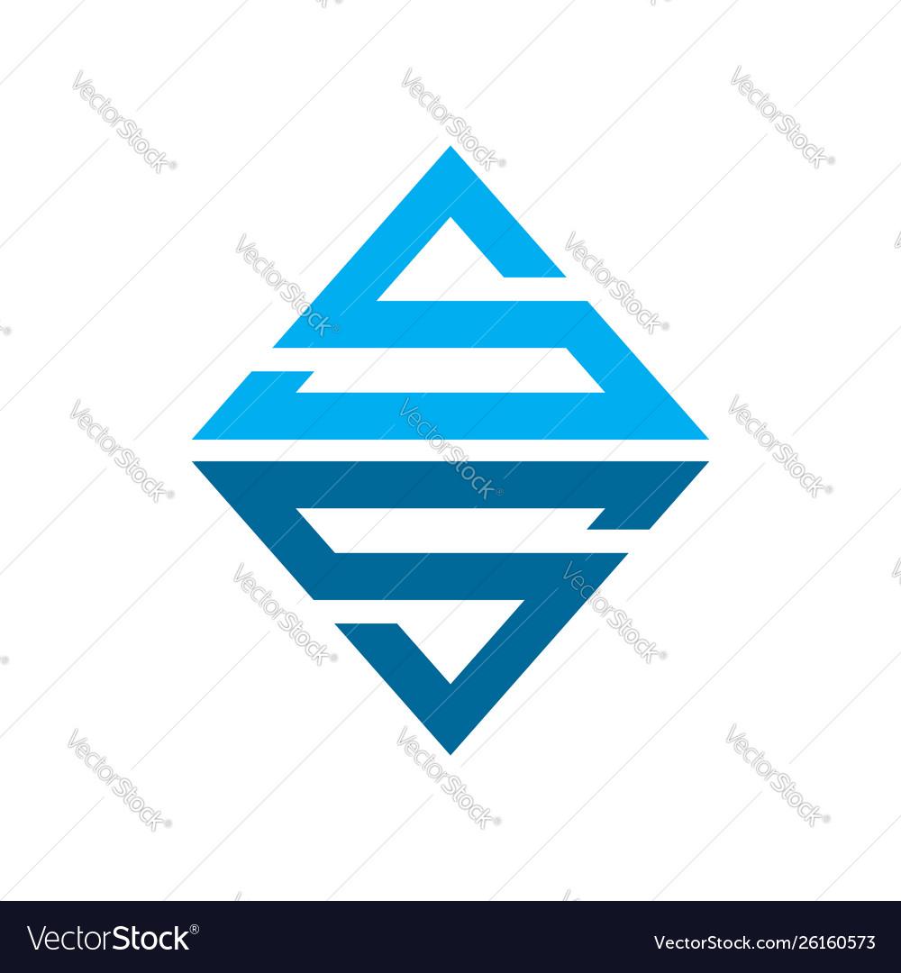 Emerald ss initials lettermark symbol logo design