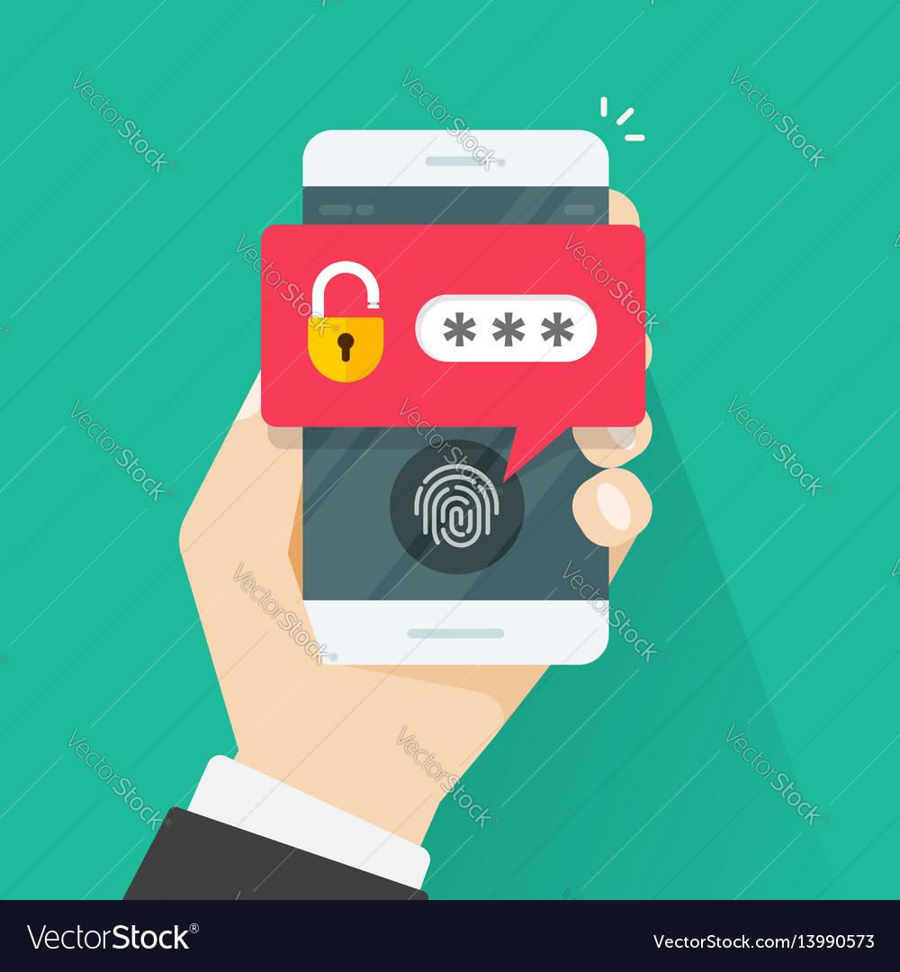 Fingerprint button and password notification vector image