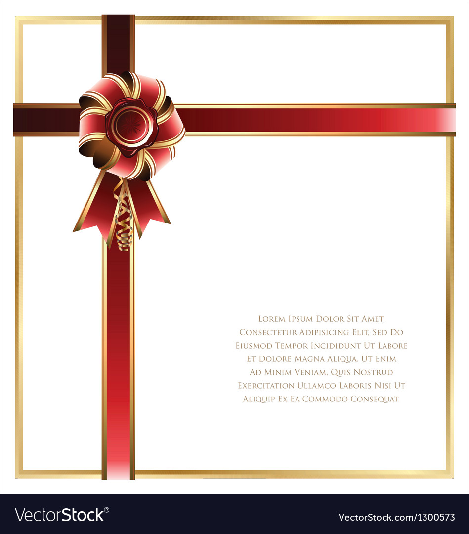 Gift card with red and gold ribbon background