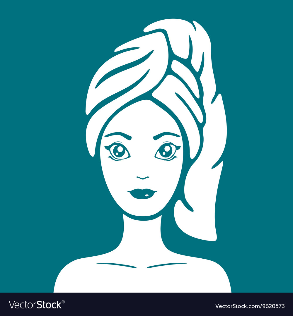 Girl with a towel on head