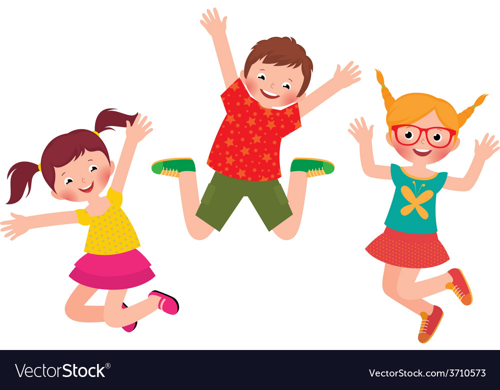 Happy children jumping isolated on white backgroun