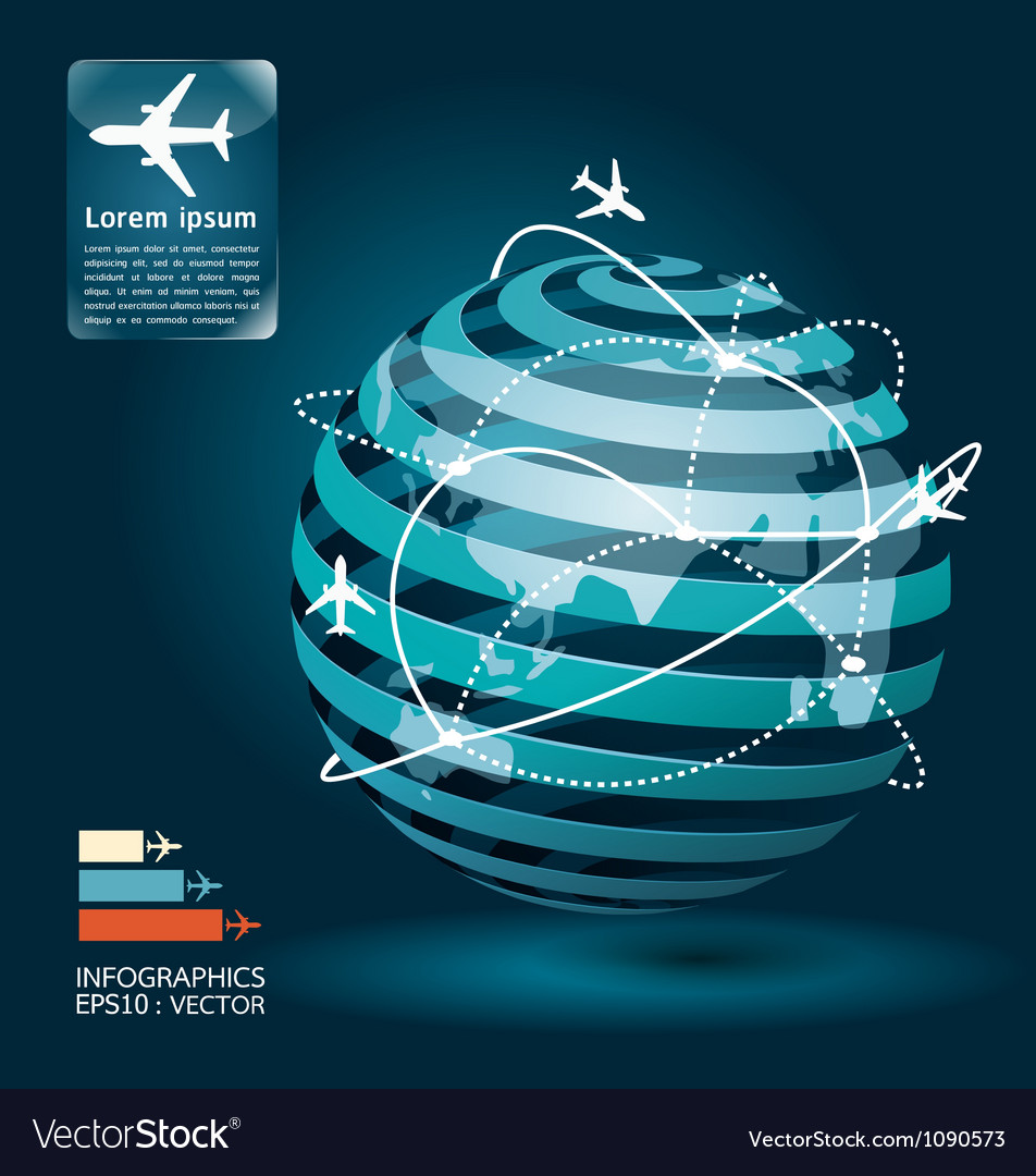 Infographic airplane network concept