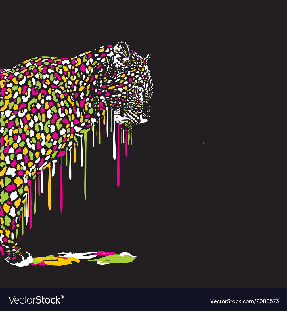 Leopard abstract painting on a black background