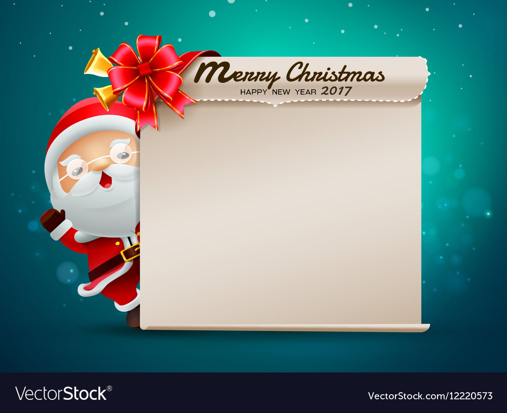 Merry christmas happy new year card with santa