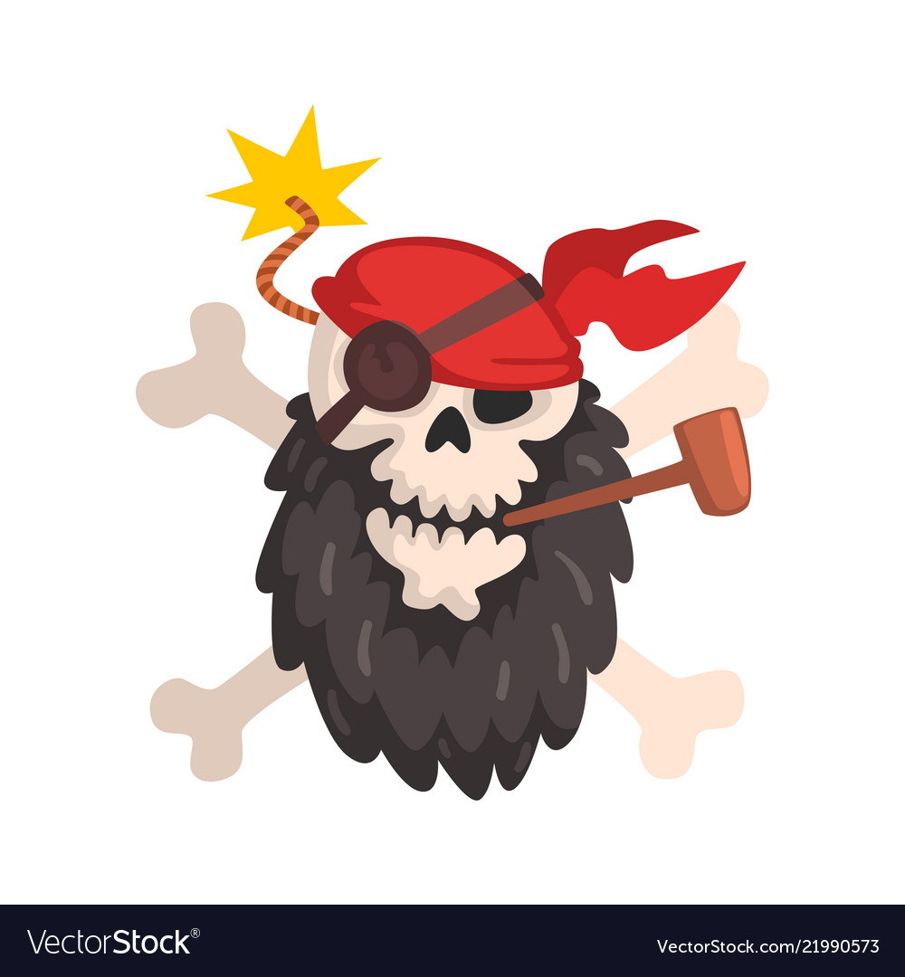 Pirate skull and crossbones jolly roger wearing a