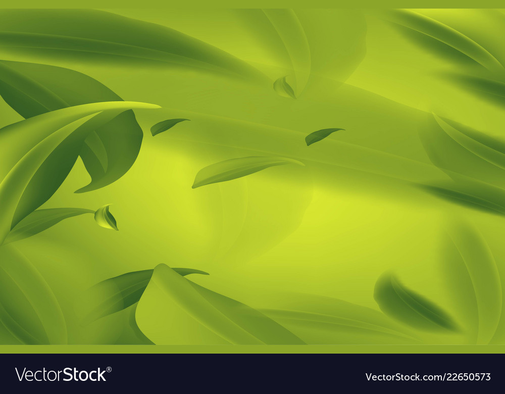 Realistic fly green leaves pattern background on