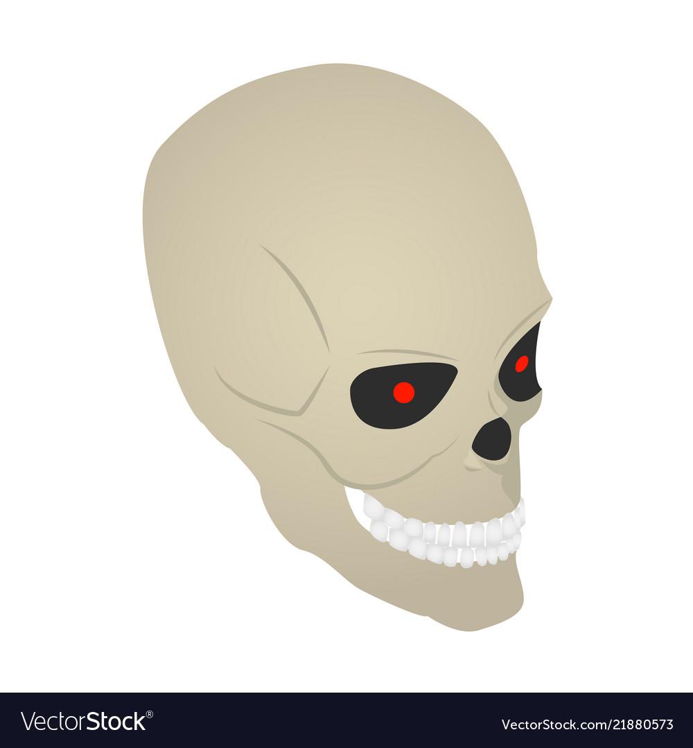 Scary skull icon isometric style