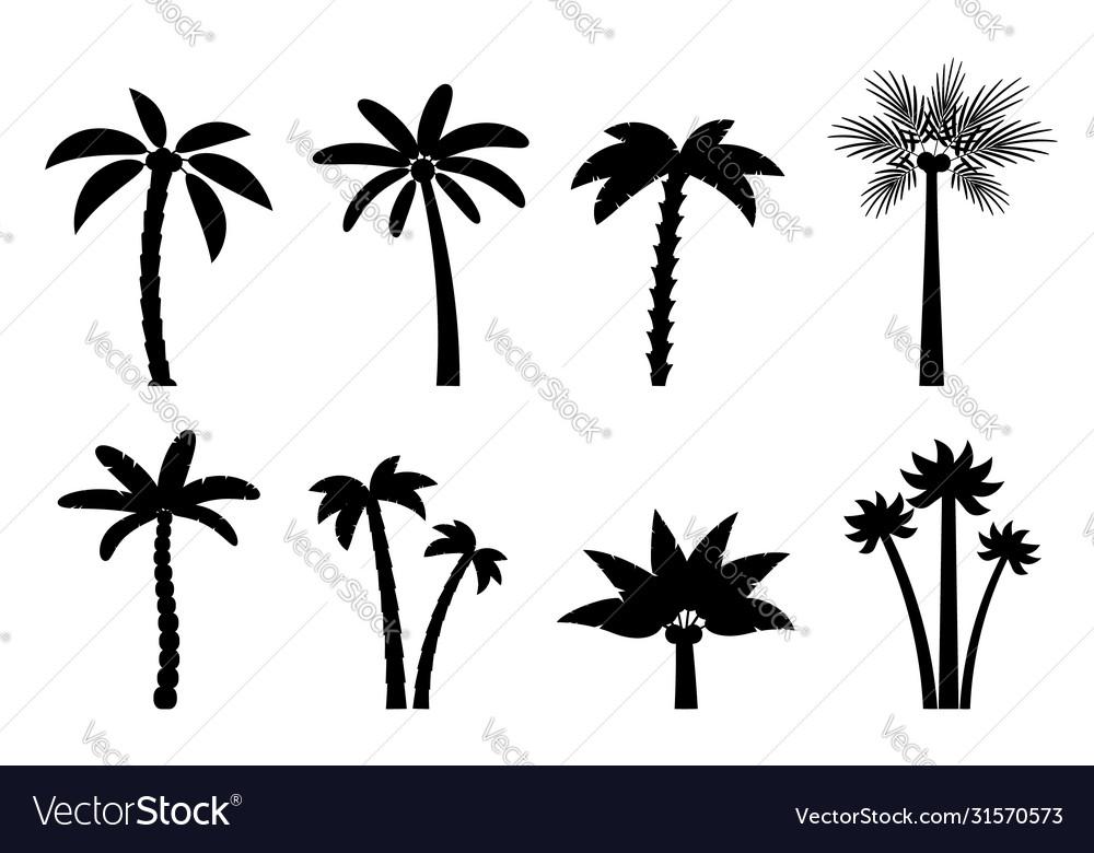 Set simple palm trees