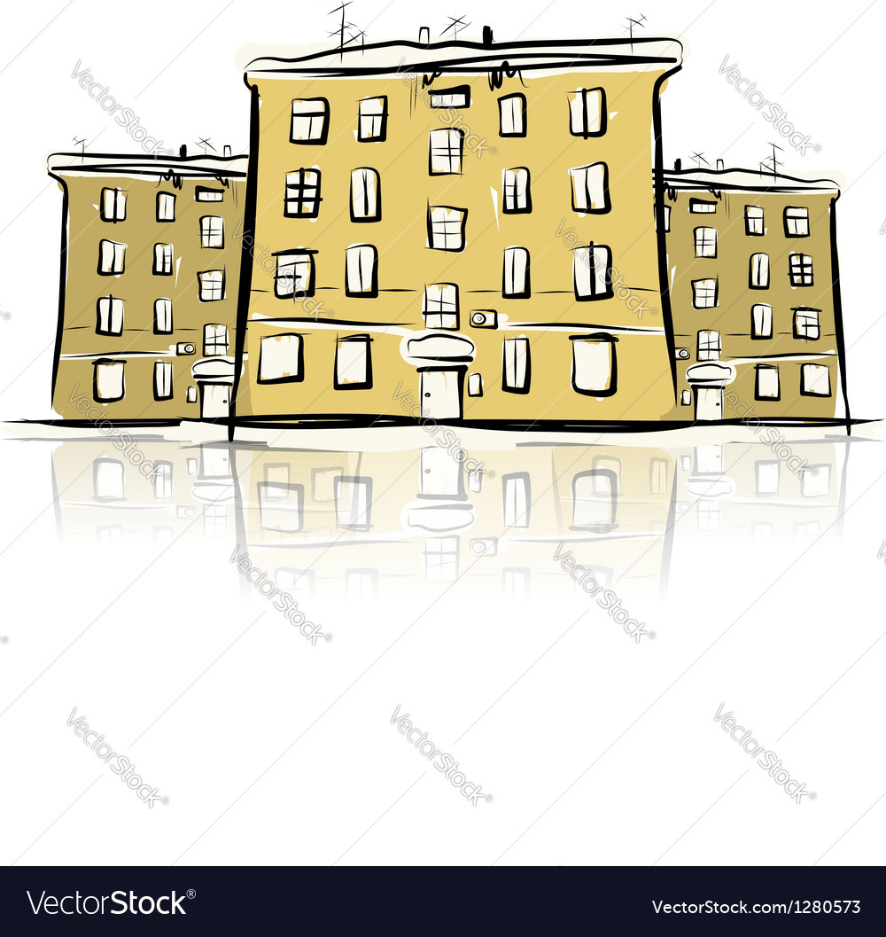 Sketch of street with old buildings for your vector image