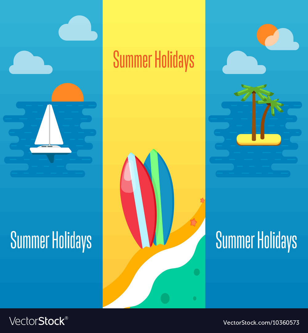 Summer Holidays Banner with Surfboards on Sand