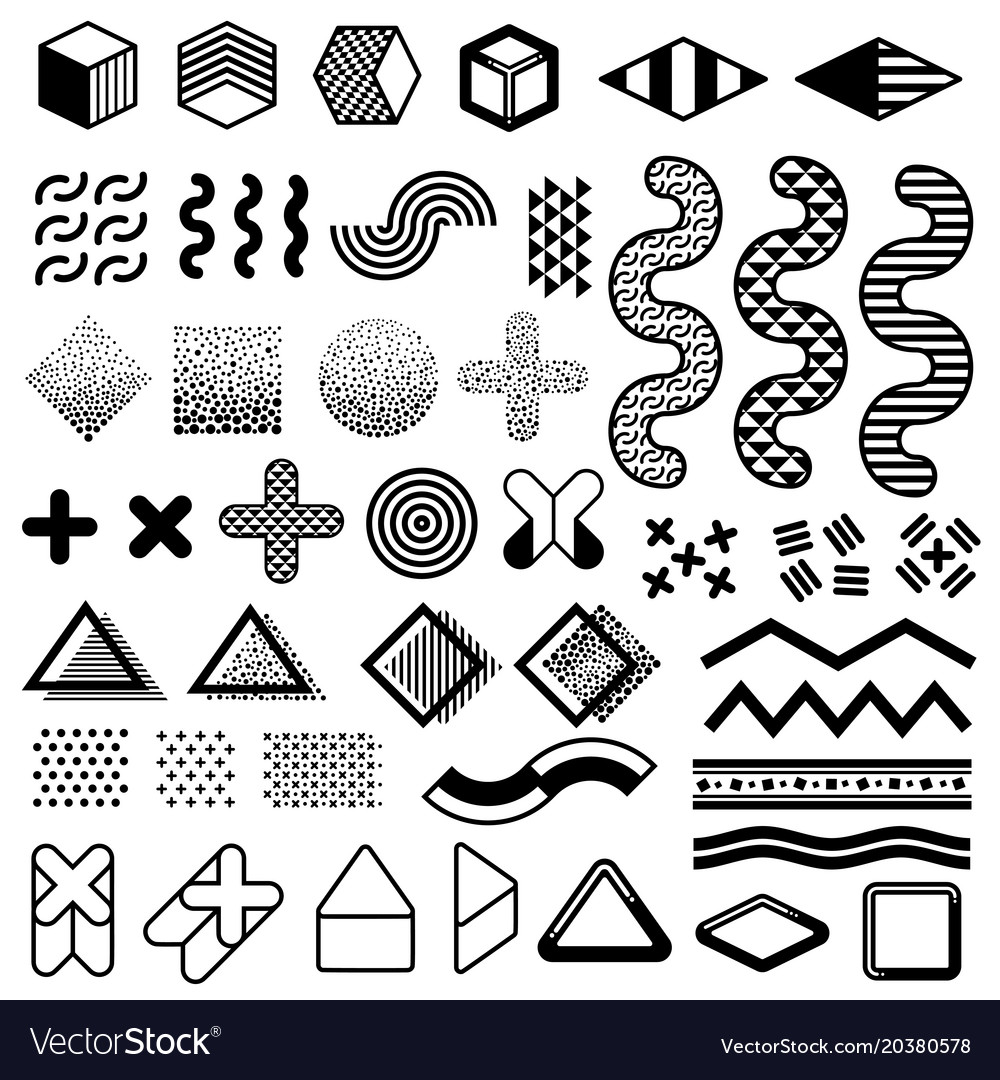 Abstract 1980s Fashion Elements For Memphis Vector Image