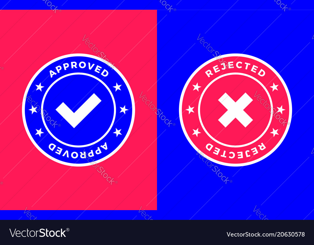 Approved and rejected mark positive and negative vector image