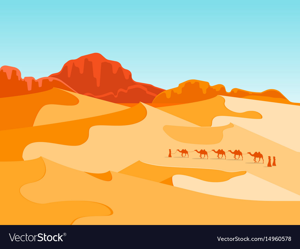 Cartoon desert with silhouettes camels and people