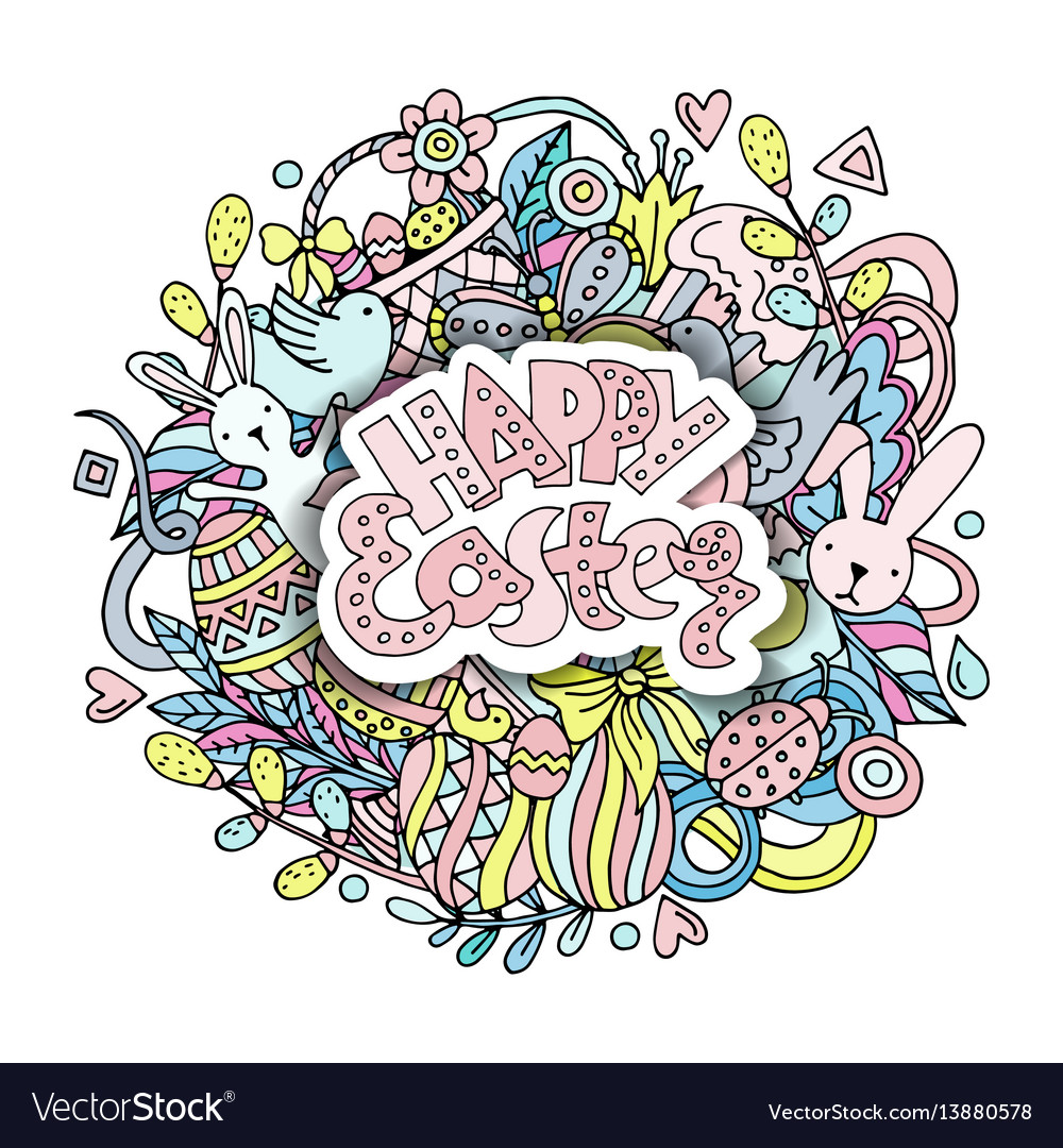 Cartoon hand drawn doodle happy easter