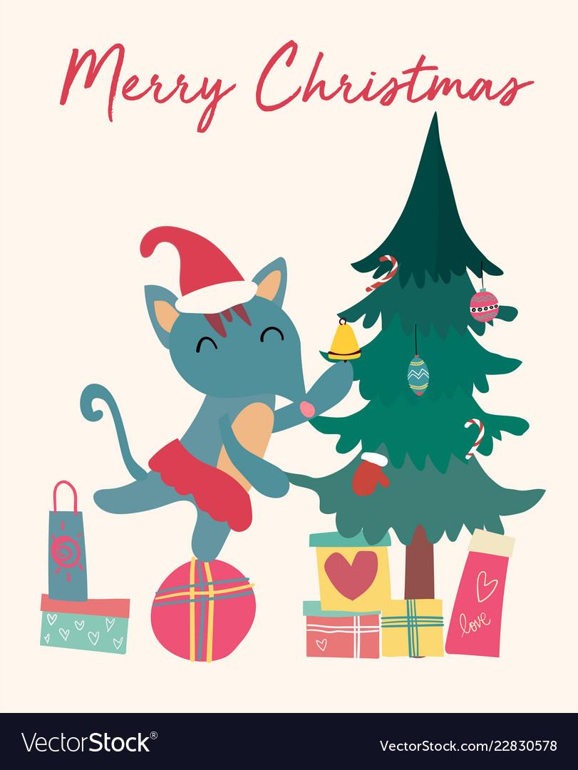 Christmas card cute fox on gift box with tree