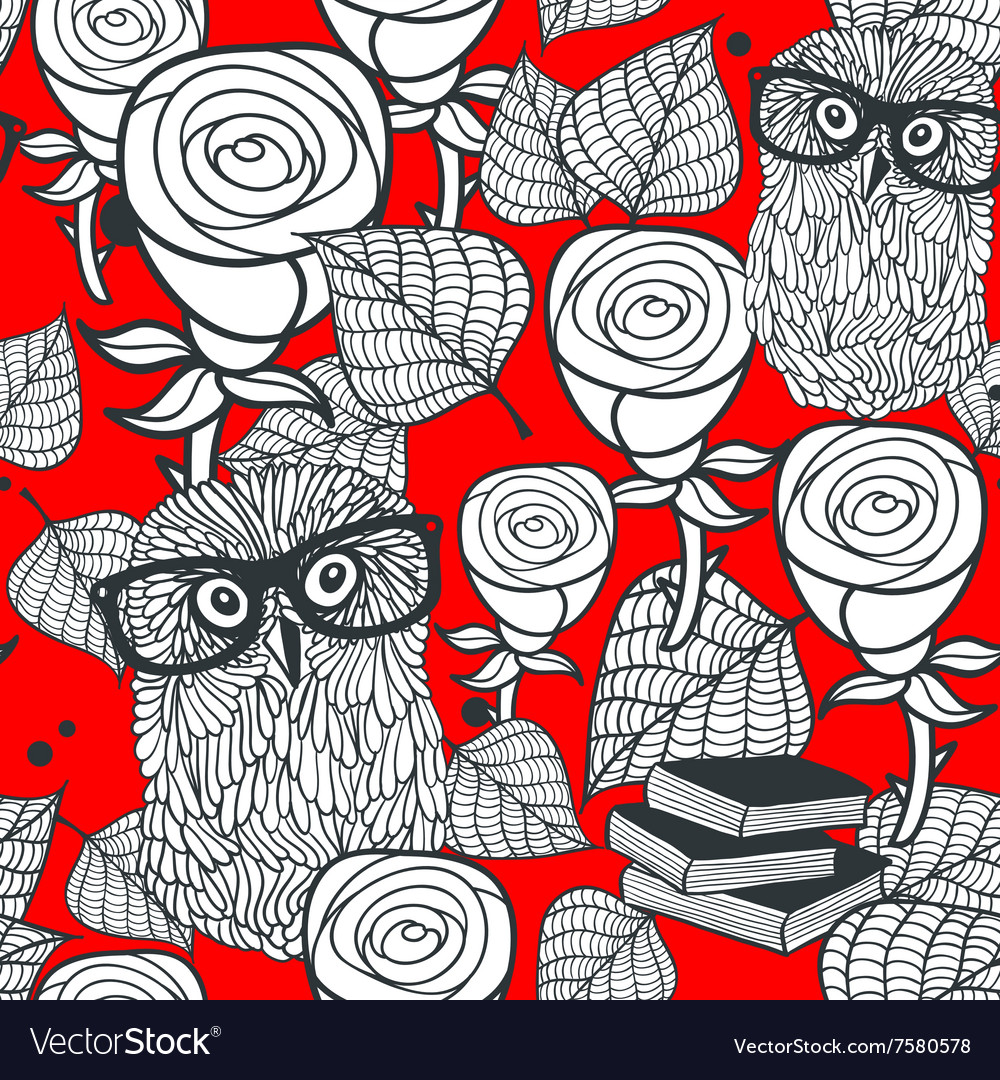 Hipster owls in glasses with tender roses seamless