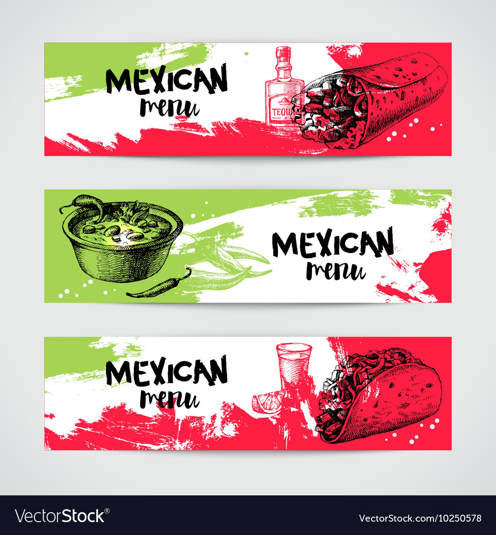 Mexican traditional food menu banners set Hand