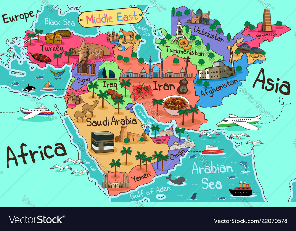 Map Of Europe And Middle East Countries.Middle East Countries Map In Cartoon Style Vector Image