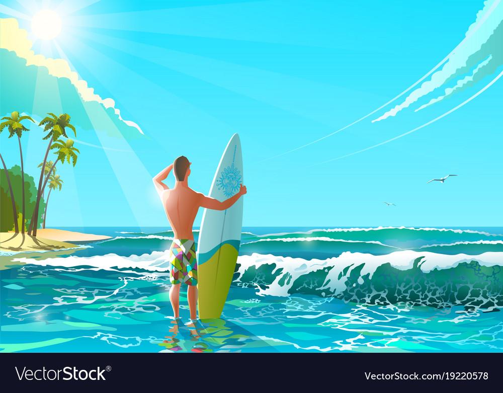 Ocean beach athletic man