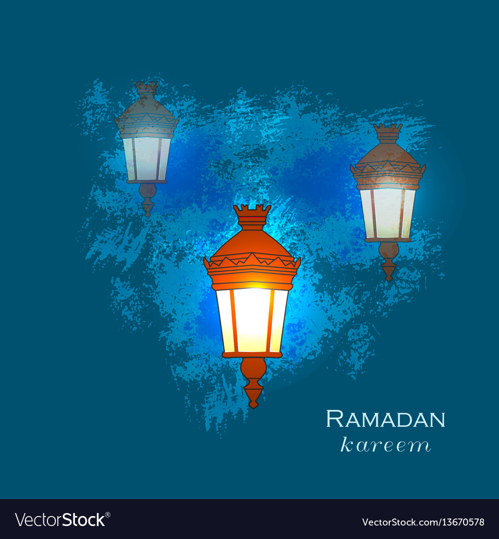 Ramadan greetings card view of mosque in night vector image m4hsunfo