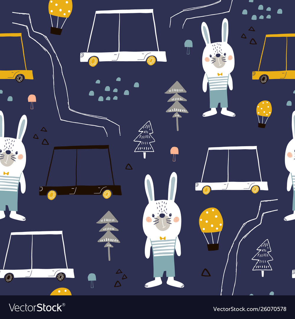 Seamless pattern with cute bunny cartoon car and