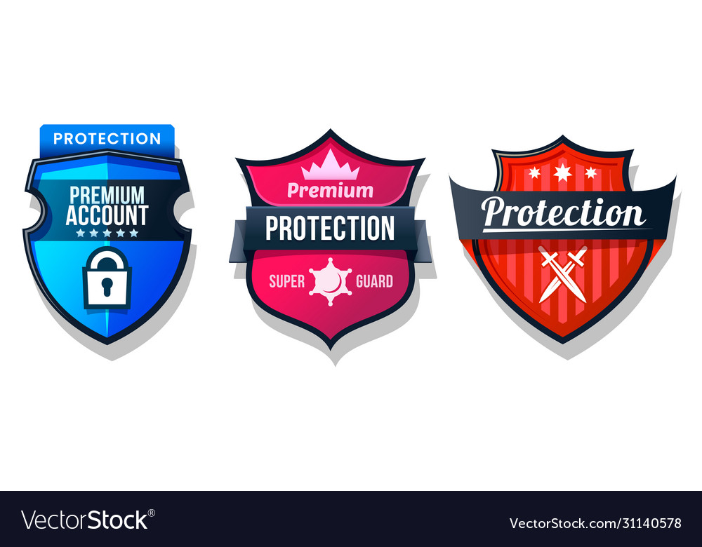 Shield protection icons web security safety signs