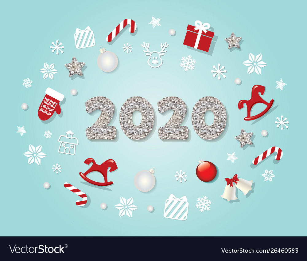 2020 new year template christmas cute decorative