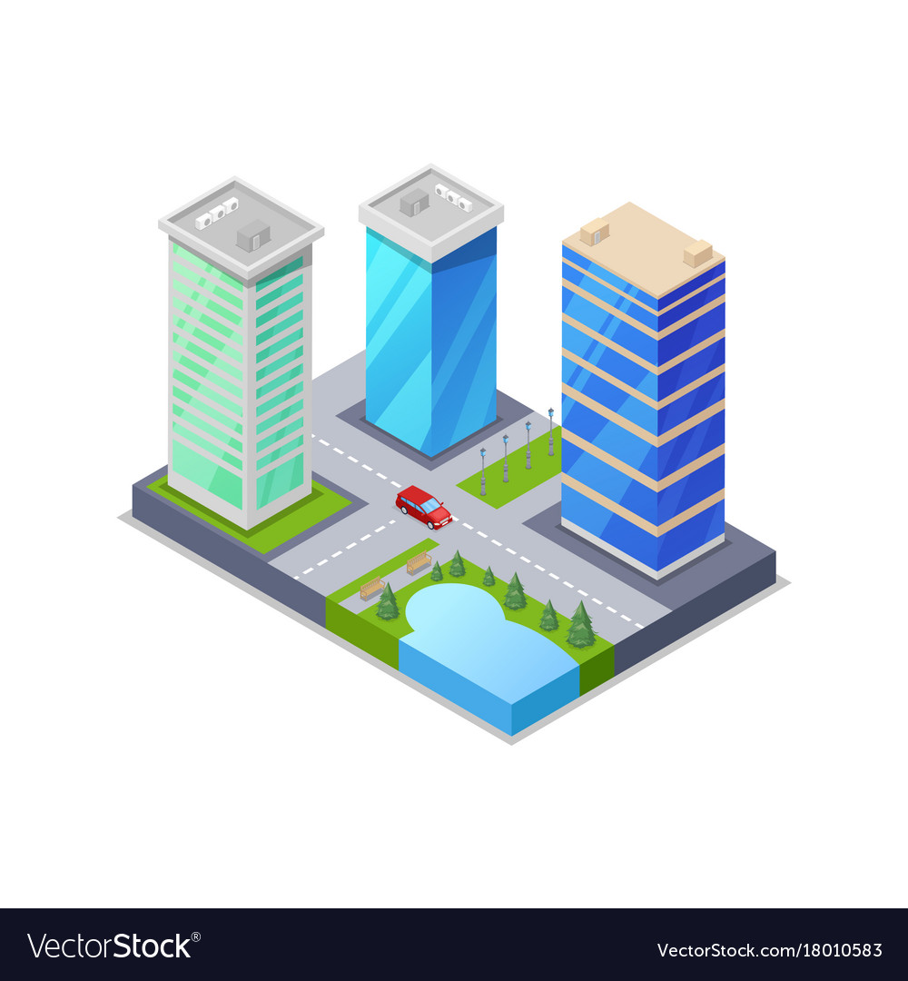 Downtown district isometric 3d icon vector image