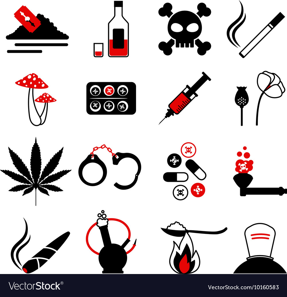drugs and alcohol addiction icons royalty free vector image vectorstock