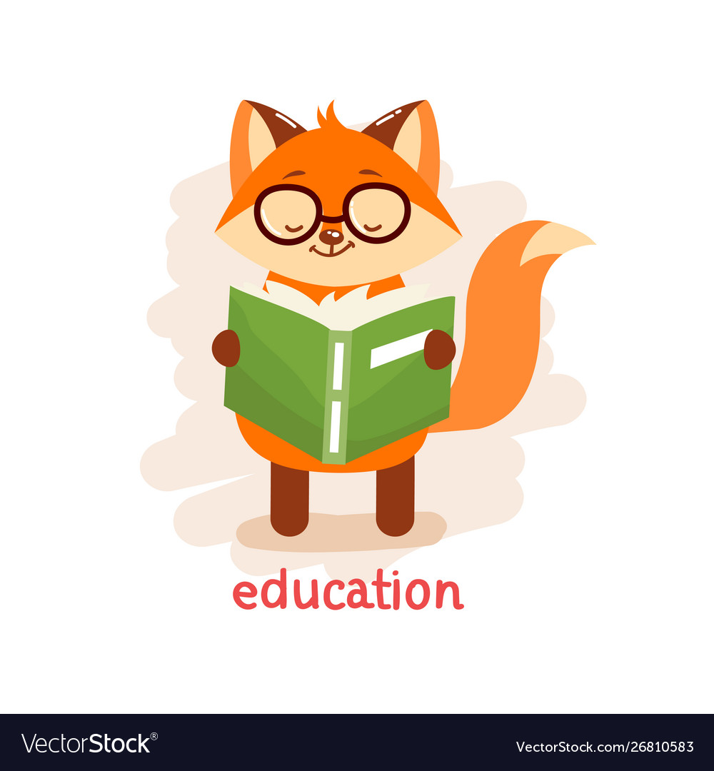Education concept cute fox in glasses reading a