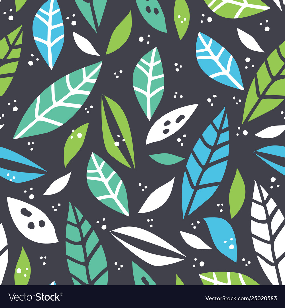 Forest leaf hand drawn colorful seamless pattern