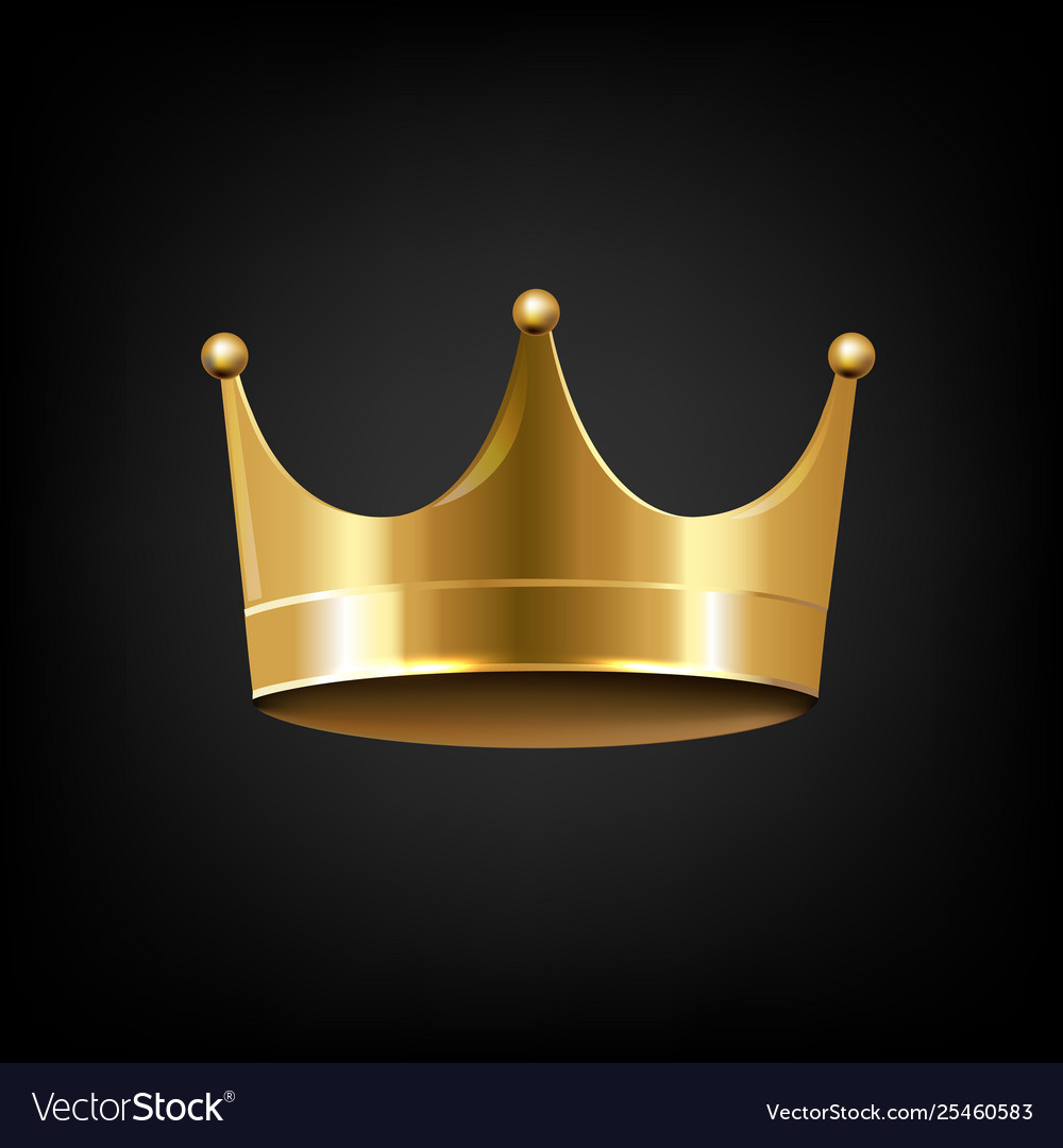 Golden crown isolated black background Royalty Free Vector