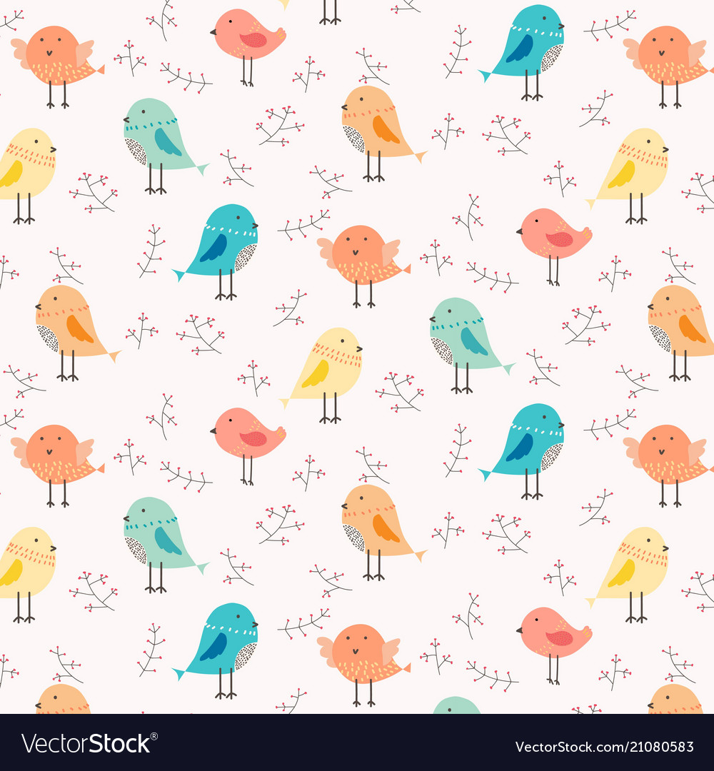 Hand drawn cute bird and floral pattern background