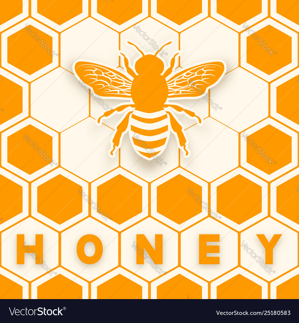 Honey bee sticker silhouette on honeycomb