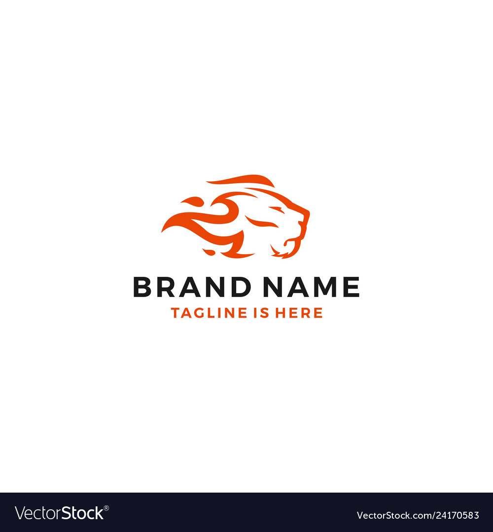Lion Fire Head Flame King Logo Template Icon