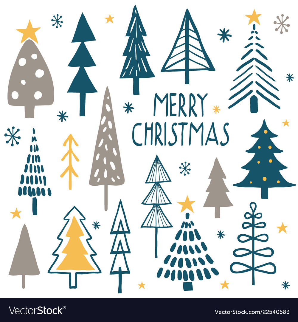 Merry Christmas Simple Minimalist Trees Royalty Free Vector