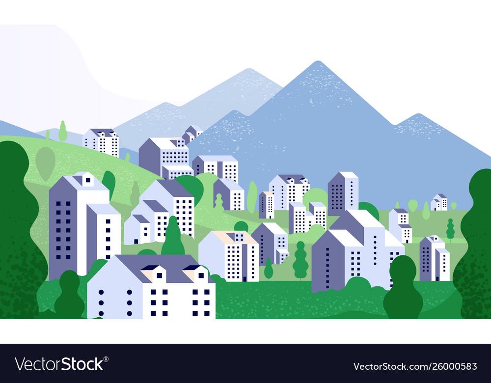 Minimal cityscape nature landscape with modern